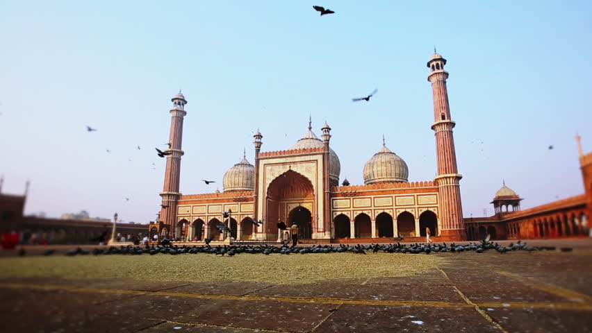 Pan shot of birds flying in front of a mosque, Jama Masjid, Delhi, India