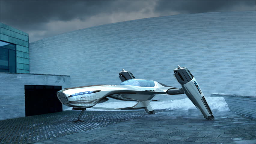 Futuristic flying car starting engines, taking off. My own original design. 3D animation with HDRI and camera-mapped environment.