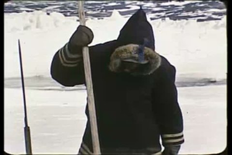 1950s - Eskimos in the Arctic make a hole in the ice and fish in the 1950s.