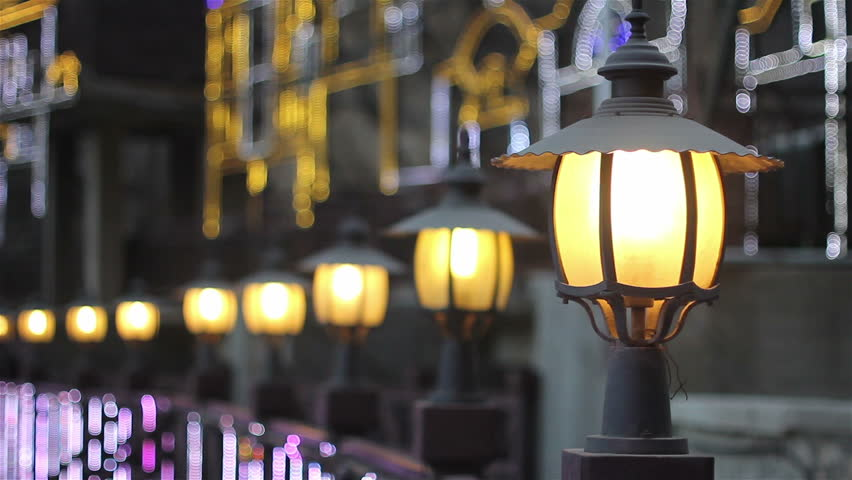 Street lamp and pedestrian