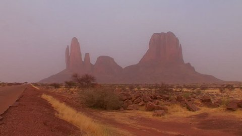 Unusual rock formations in the Sahara desert of Mali.