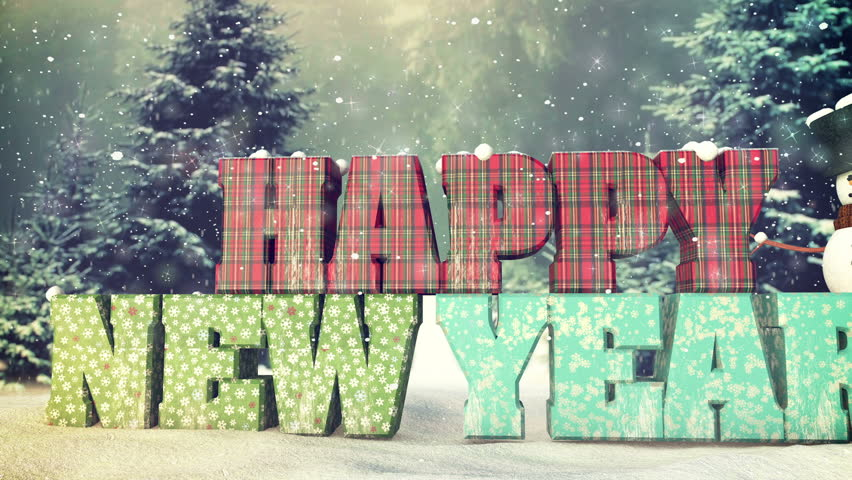 Happy new year in the snow. Full HD 3d animation for winter concepts.