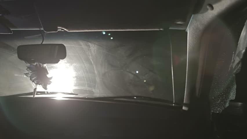 Car crash inside of vehicle pov