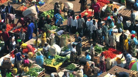 ZAMBIA - MAY 2009: Colorful wide aerial view of an African market