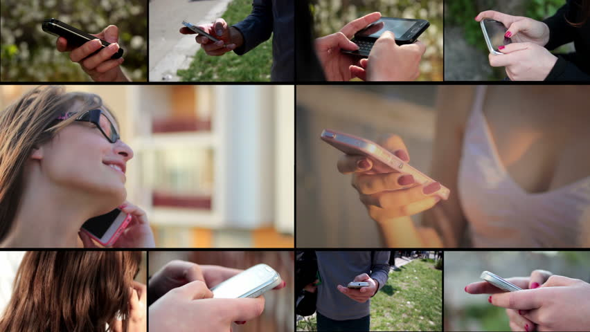 People with smart phone (mobile phone) - multiscreen