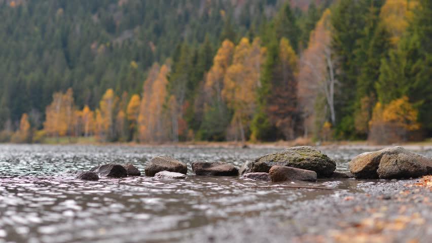 time lapse with mountain lake in autumn, Sf. Ana lake, Romania