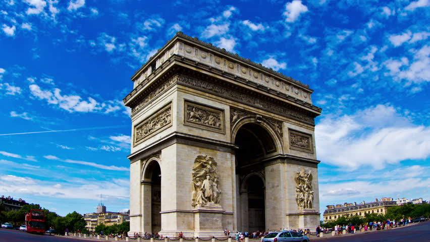 paris july 10 2014 arc de triomphe in paris at dusk with traffic france is the second. Black Bedroom Furniture Sets. Home Design Ideas