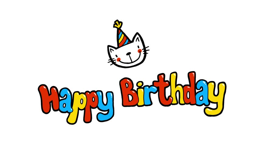 Happy Birthday 2D cute animation greeting card