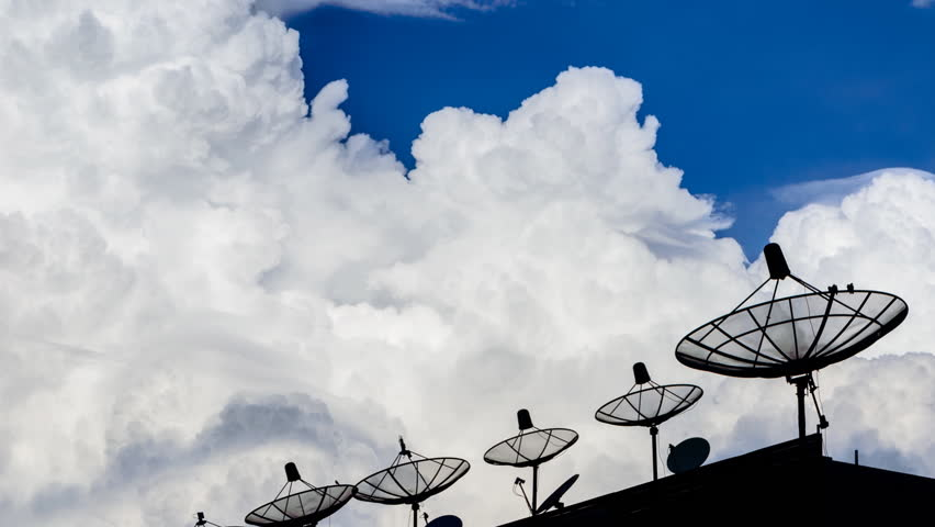 Time Lapse Silhouette Satellite Dish And Sky Background | Shutterstock HD Video #4971800