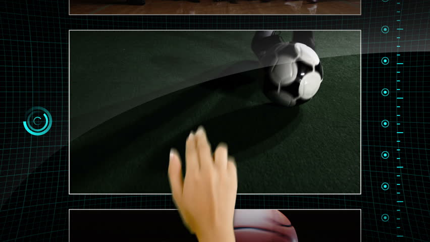 Hand scrolling on a touchscreen through clips of various sports - bottom to top