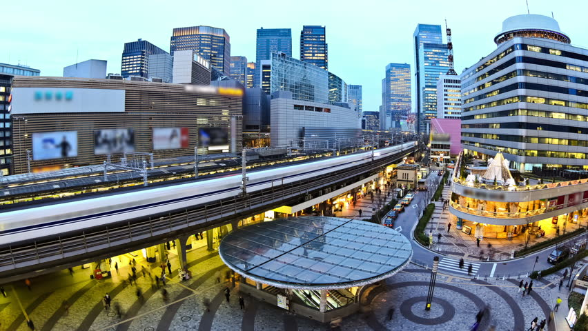 City traffic time lapse of Ginza train station. #4977776
