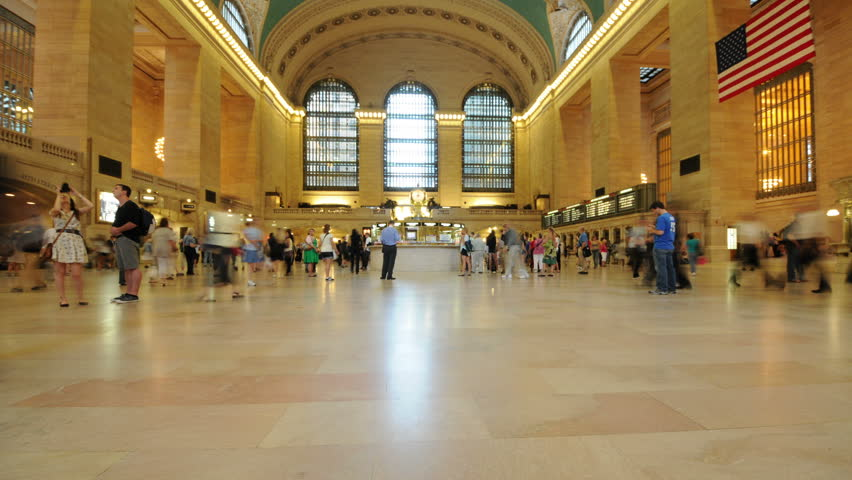 NEW YORK - CIRCA 2011: Time Lapse of Grand Central Station - New York - 4K - 4096x2304