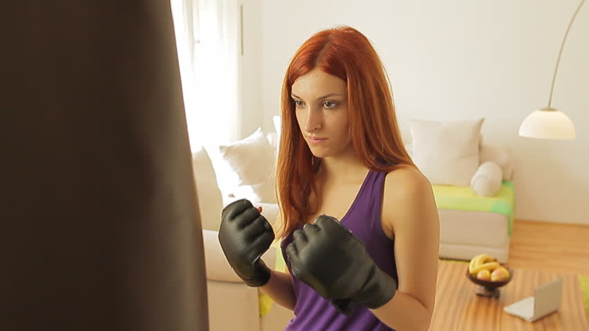 Beautiful young female athlete exercise for self defence