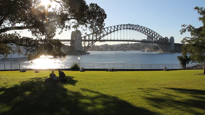 Sydney Harbour Bridge viewed from across the harbour.