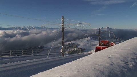 Rail snow plow, Switzerland mountain, cog railway