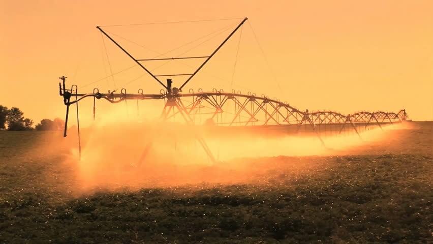 Farm Irrigation, late afternoon  sprinklers on a farm, Kennewick, Washington