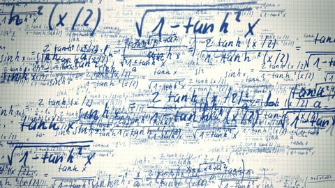 Animation presents handwritten mathematical formulas on gray background flying through the camera.
