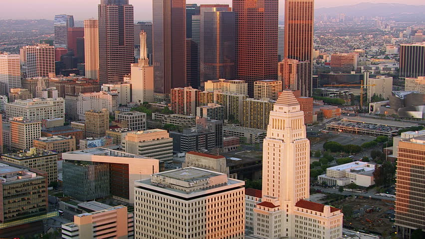 Los Angeles, California, USA - March 22, 2012: Aerial shot of downtown Los Angeles at sunset | Shutterstock HD Video #5054090