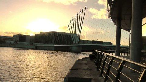 Modern Urban City Landscape - BBC Broadcasting Center, Media City UK , Salford Keys, Manchester, England