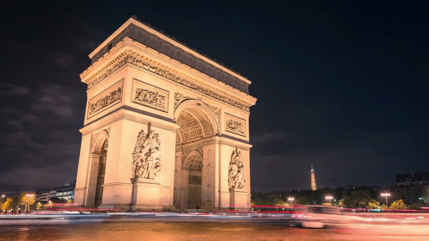 Paris Arc de Triumph night traffic Timelapse in Full HD 1080p  | Shutterstock HD Video #5069846
