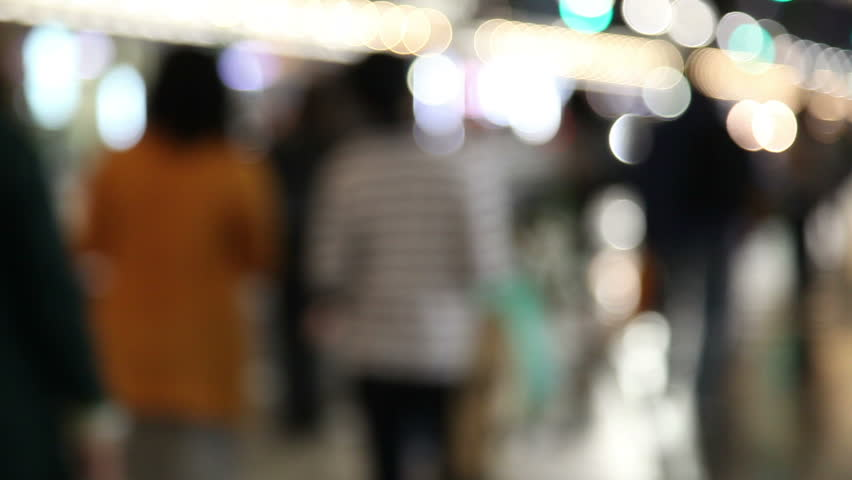 defocus people walk and Flare night traffic lights-Japan