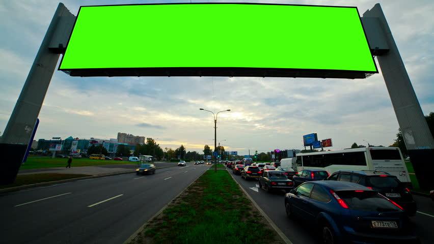 billboard with a green screen