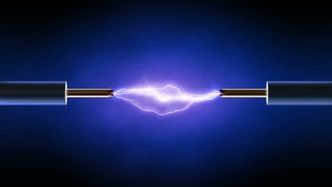 Electrical spark and smoke between  two insulated copper wires - looped