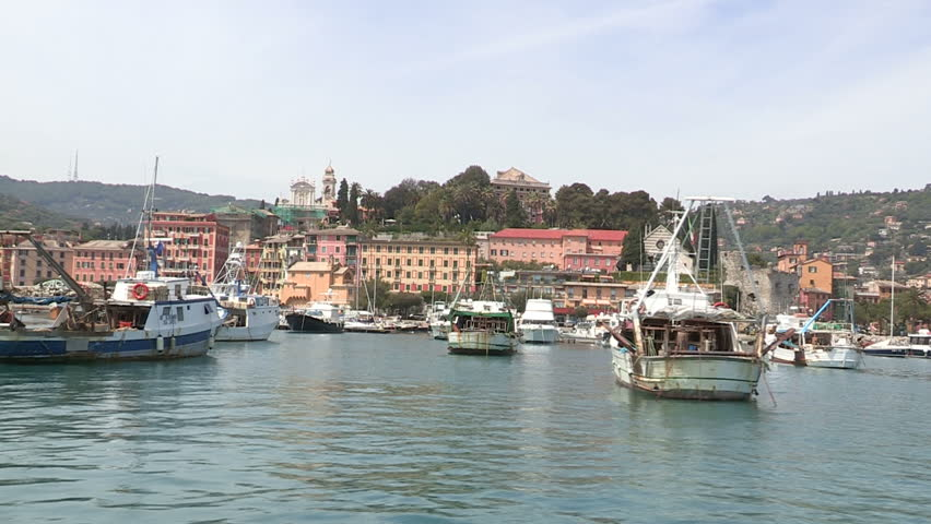 Port of Santa Margherita Ligure seen from the sea, with fishing boats  | Shutterstock HD Video #5085020