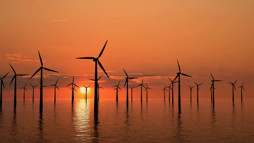 Wind farm at sunset on sea - high definition footage.