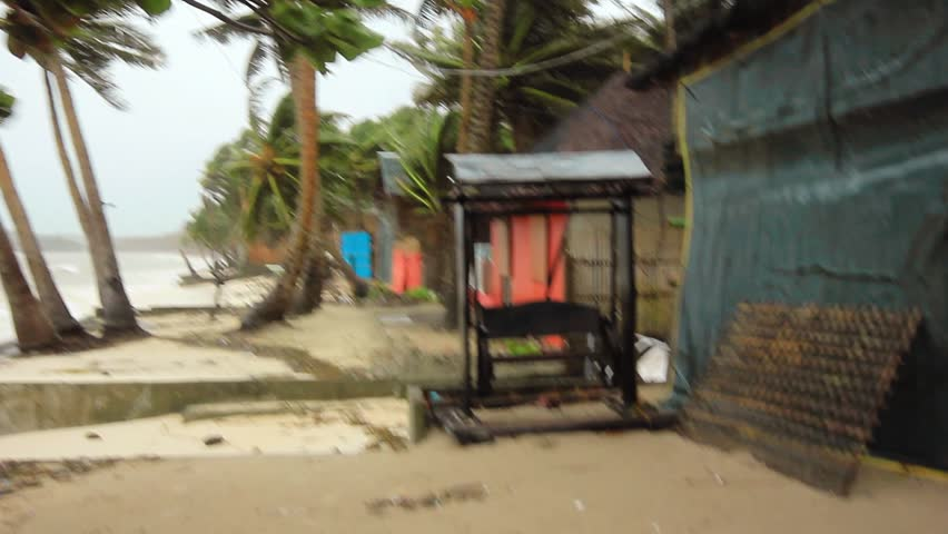 Boracay, Philippines - November 8 2013: Super Typhoon Haiyan slams into the exposed east coast bringing hurricane force winds and causing widespread damage to buildings.