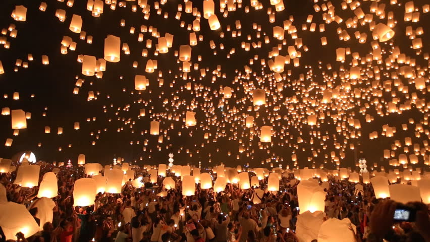 Floating lanterns in Yee Peng Festival, Loy Krathong celebration in Chiangmai, Thailand. Wide angle view. | Shutterstock Video #5092781