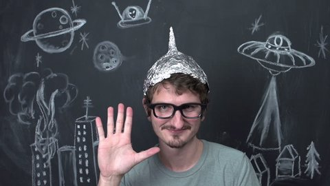 Strange man with tinfoil helmet on