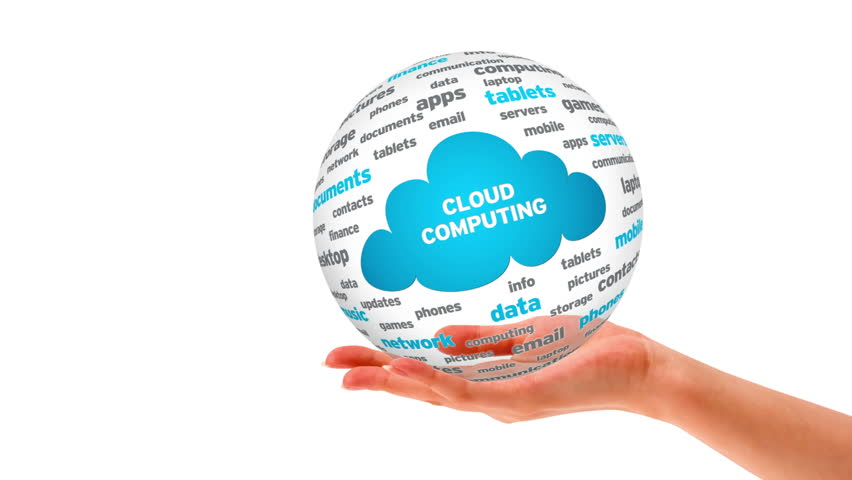 A person holding a 3d Cloud Computing word Sphere   Shutterstock HD Video #5153540