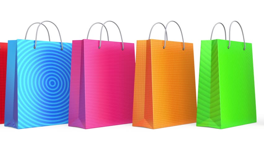 Colorful shopping bags in loop