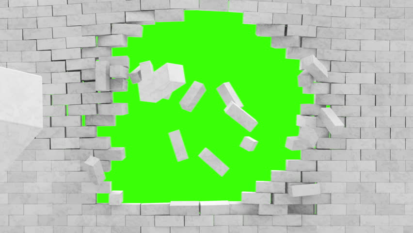 Animation of Broken Brick Wall with Green Screen