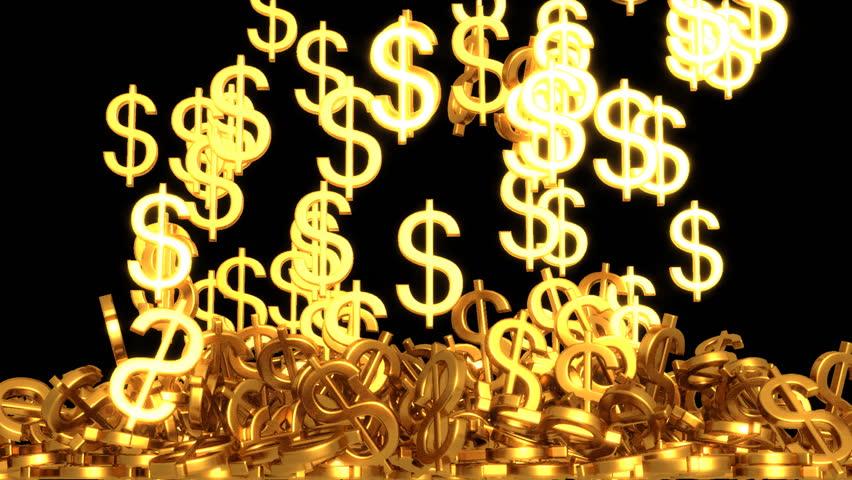 Golden dollar sign storm surge with alpha matte