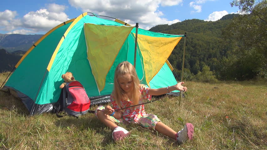 Child Playing on Meadow in Mountains Little Girl by Tent in Trip Landscape & Boy With Girl Sitting In Tent And Eating Cakes Stock Footage Video ...