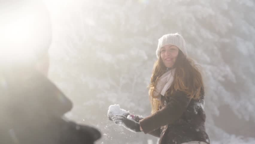 Sunny Winter Joyful Woman Throwing Snow Happiness Outdoors
