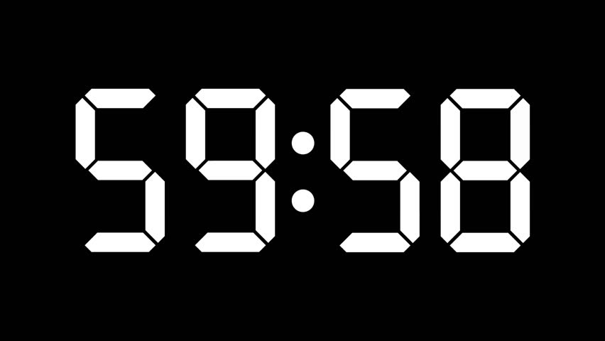 Digital clock countdown from sixty to zero - full HD - Timer with LCD display - white numbers over a black background