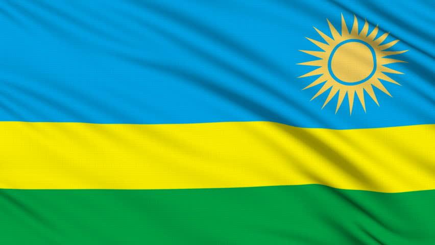 Rwanda Flag With Real Structure Of A Fabric Stock Footage Video - Rwanda flag
