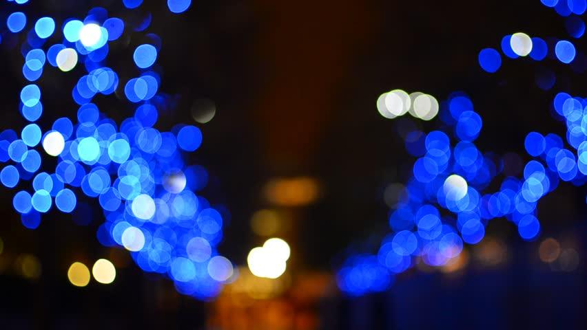 Blue Christmas Tree Lights Bokeh London Street, Focus And Diameter Change    HD Stock Video