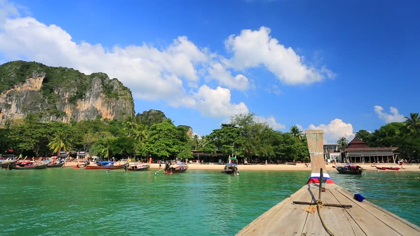 Moving To The Railay Beach On Thai Traditional Wooden Boat -2690