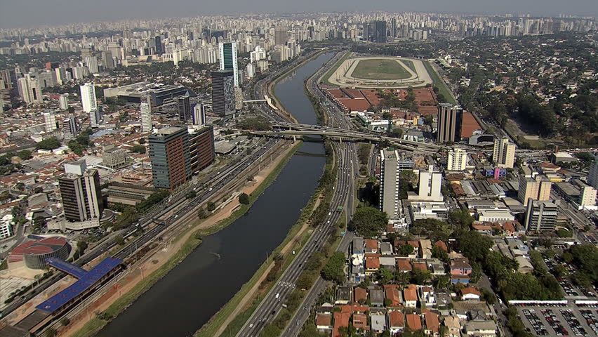 Brazil, Sao Paulo aerial view over Marginal Pinheiros and Jockey Club de Sao Paulo