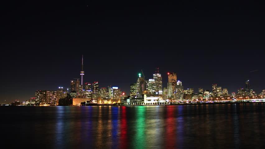 Toronto Night Skyline Timelapse 1. Toronto, Canada as seen from across the