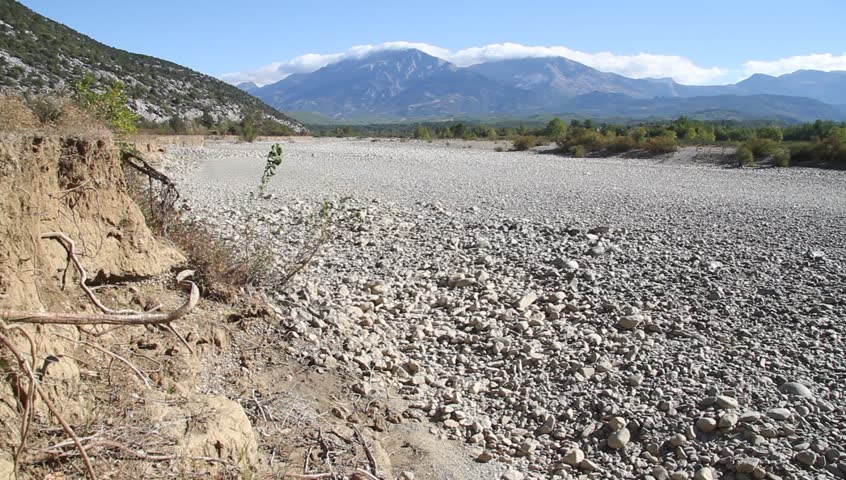 Dry Wide River Bed In Mountain Area In Turkey