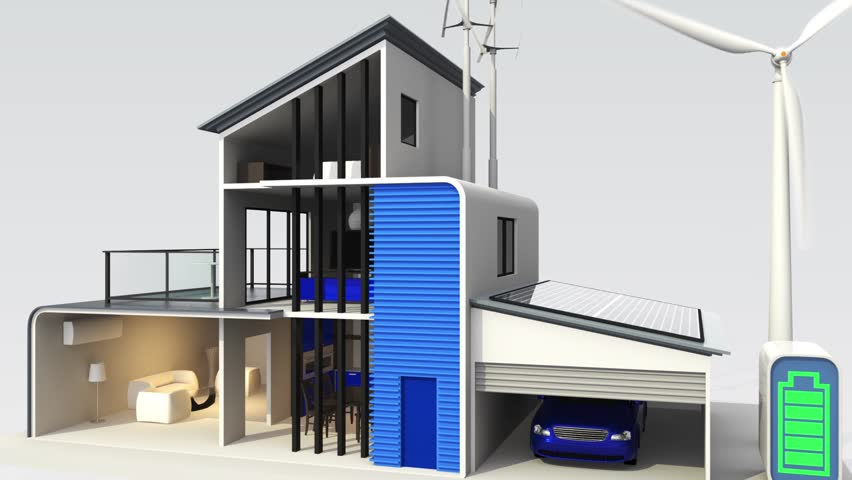 Eco house supplied by solar and wind power. Energy classification chart available
