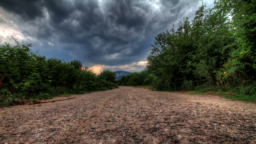 4K, Rain Clouds Over A Mountain Lonely Road. Crimea, Ukraine. HDR Time Lapse Shot Motorized Slider