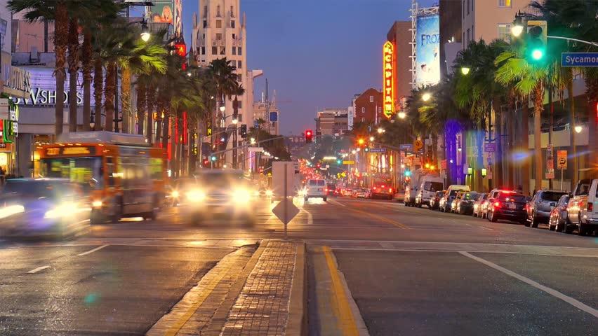 Night traffic on Hollywood Boulevard in Los Angeles. Timelapse.   Shutterstock HD Video #5267030