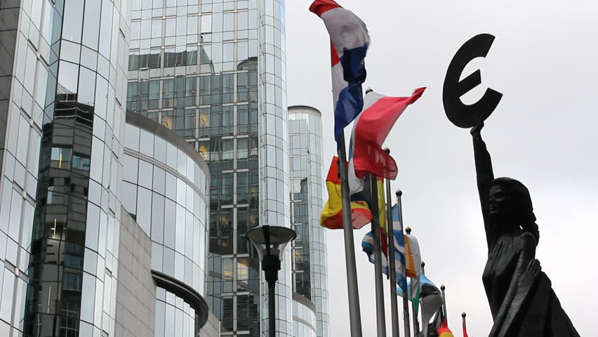 European Union representative statue, countries flags move, Parliament building