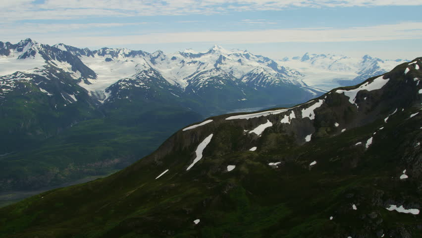 Aerial View Snow Caped Mountains In Summer Aerial View Snow - Usa northern hemisphere